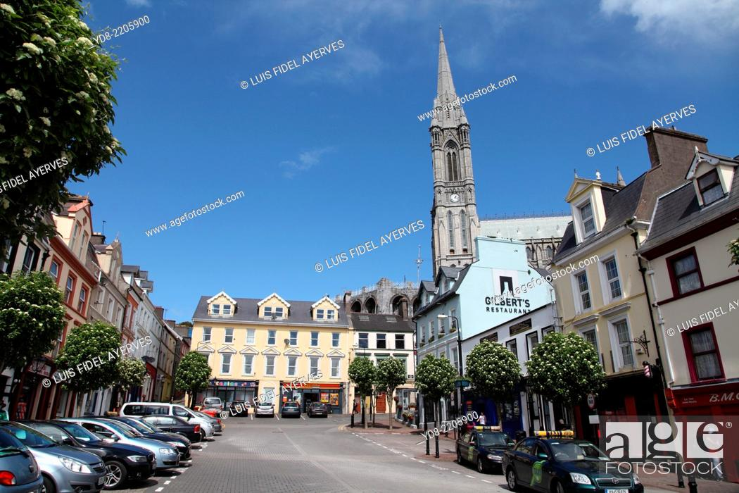 Stock Photo: Typical street in the town of Cobh With its cathedral background, Ireland, Europe.