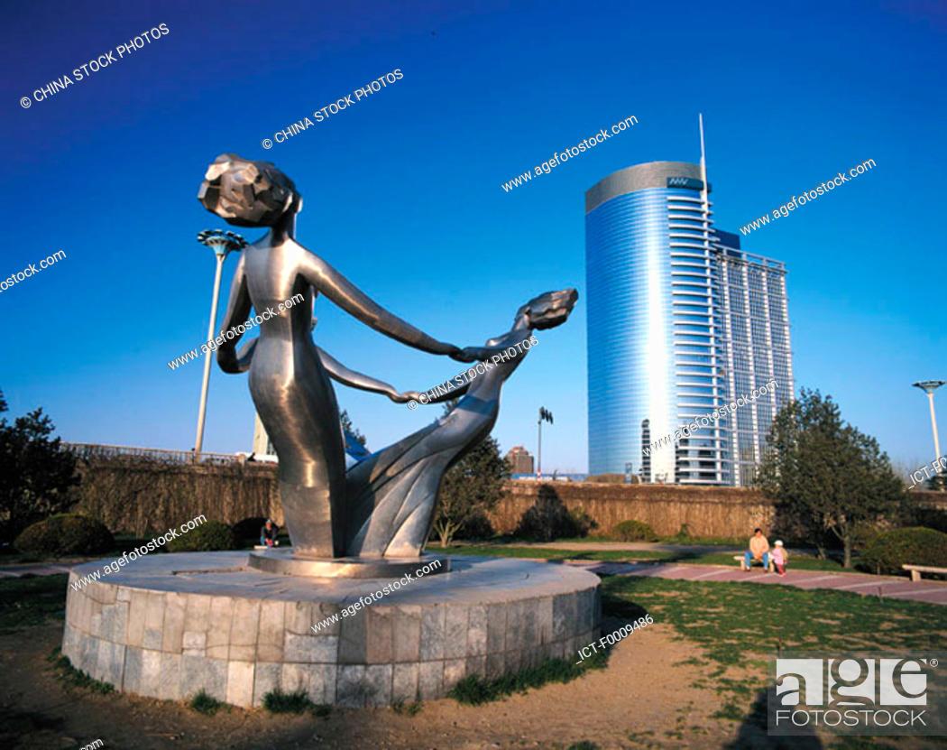 Stock Photo: China, Beijing, city sculpture.