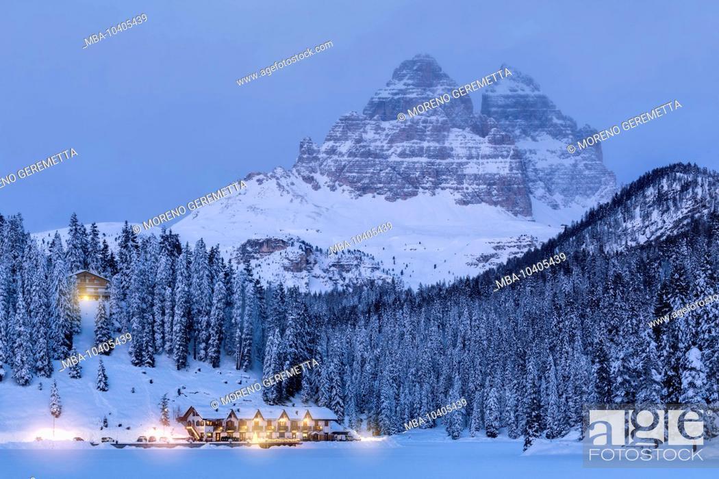 Stock Photo: Misurina winter panorama, Tre Cime di Lavaredo at dusk, Auronzo di Cadore, Belluno, Veneto, Italy.