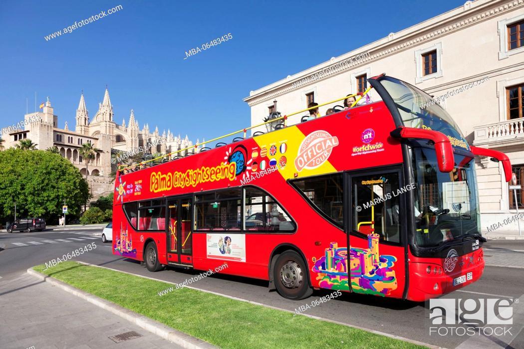 Stock Photo: Sightseeing bus at the cathedral La Seu, Palma de Majorca, Majorca, the Balearic Islands, Spain.