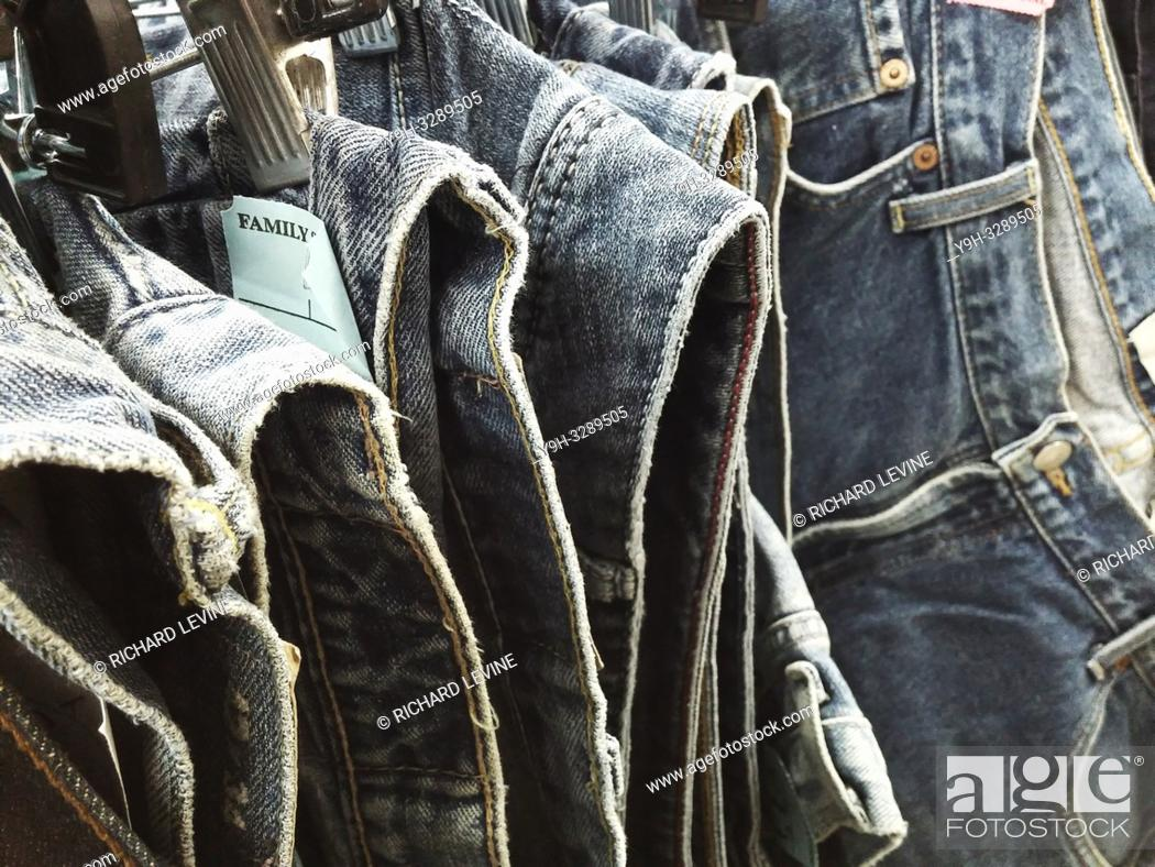 Stock Photo: A rack of denim jeans in a second hand store in New York on Thursday, January 3, 2019. Sales of denim are reported to be picking up as consumers depart from the.