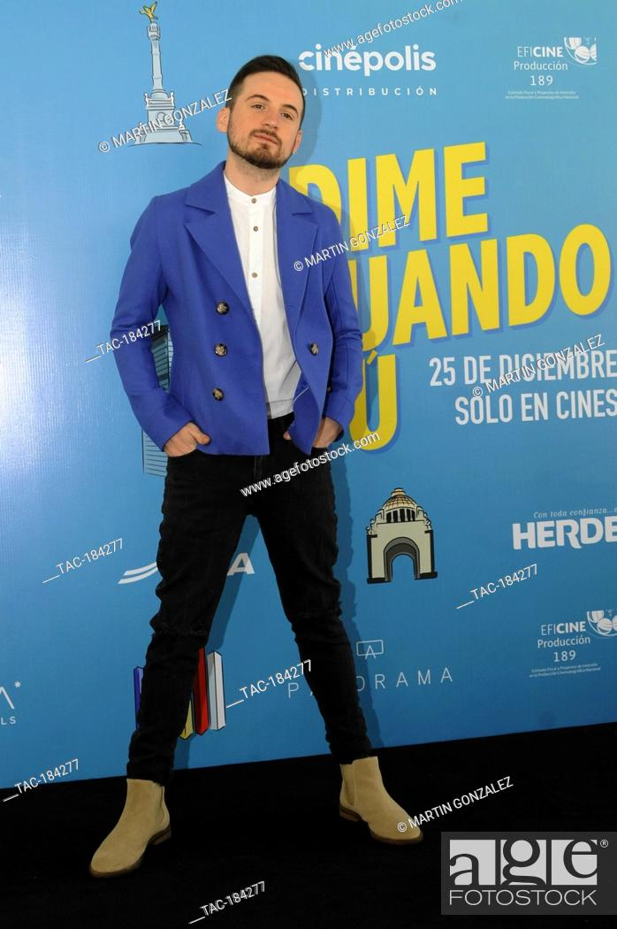 """Stock Photo: MEXICO CITY, MEXICO – DECEMBER 14: Jesús Zabala actor, attends the press conference for the movie """"""""Dime Cuando Tú on December 14 2020 in Mexico City, Mexico."""