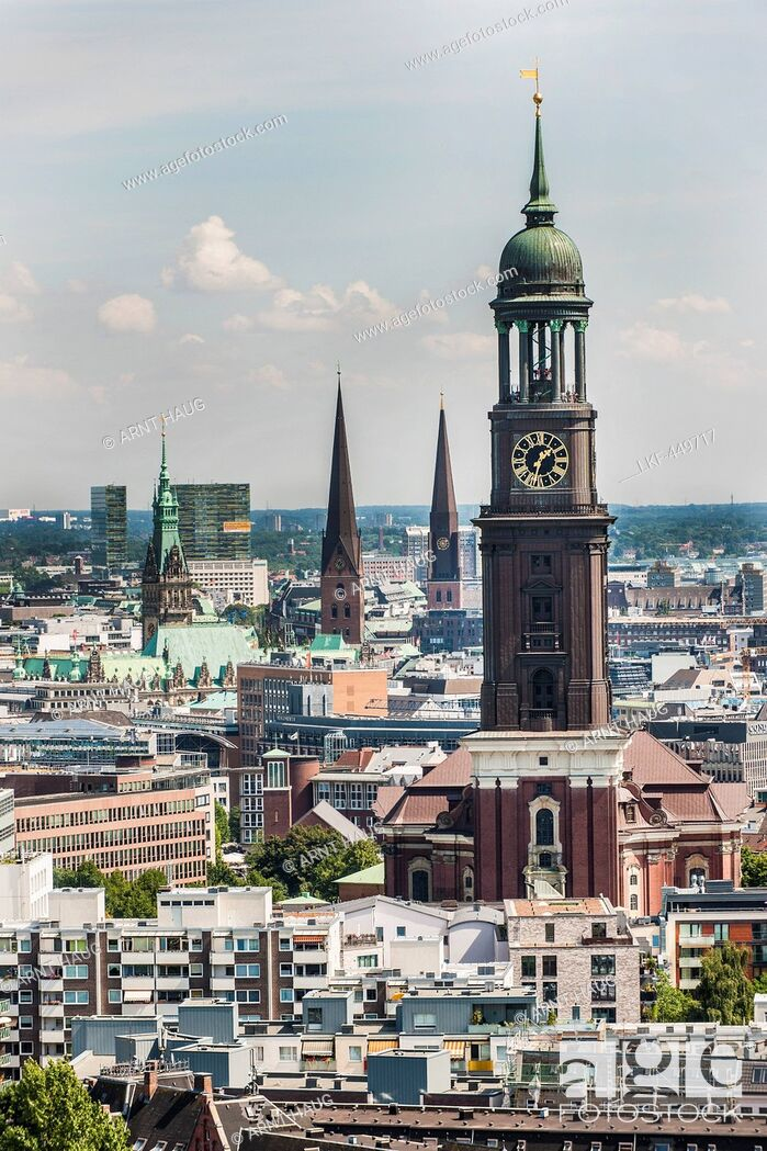 Stock Photo: View to the St. Michael's church and other churches in Hamburg, Hamburg, Germany.