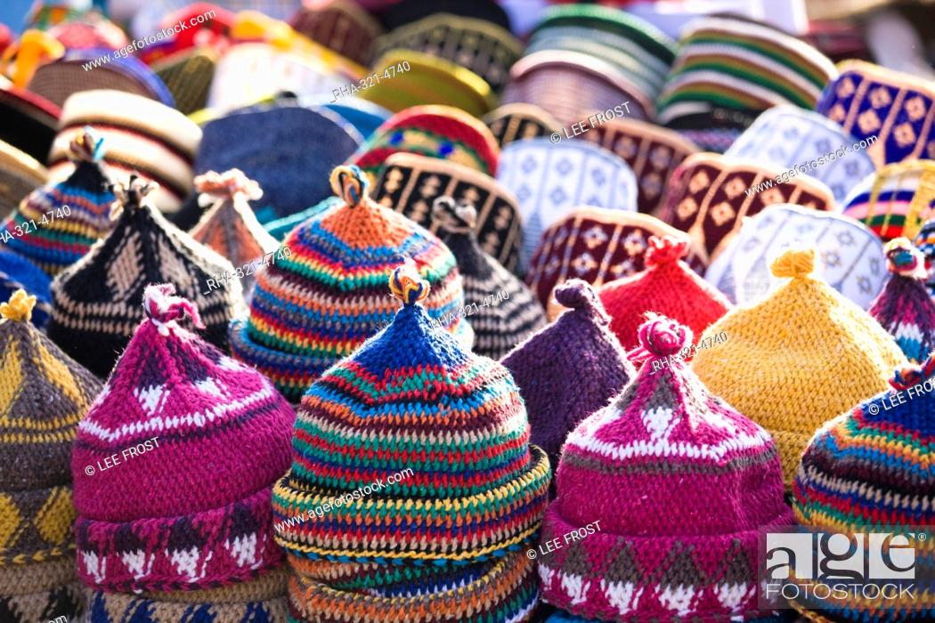 b7d5601e58f Stock Photo - Display of handmade hats for sale in market in Rahba Kedima  Square in the souks of Marrakech