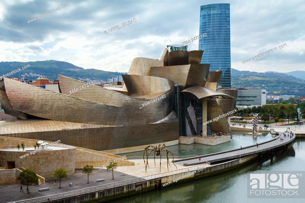 Stock Photo: Guggenheim Museum of Art, Nervion river and Iberdrola tower. Bilbao, Biscay, Spain, Europe.