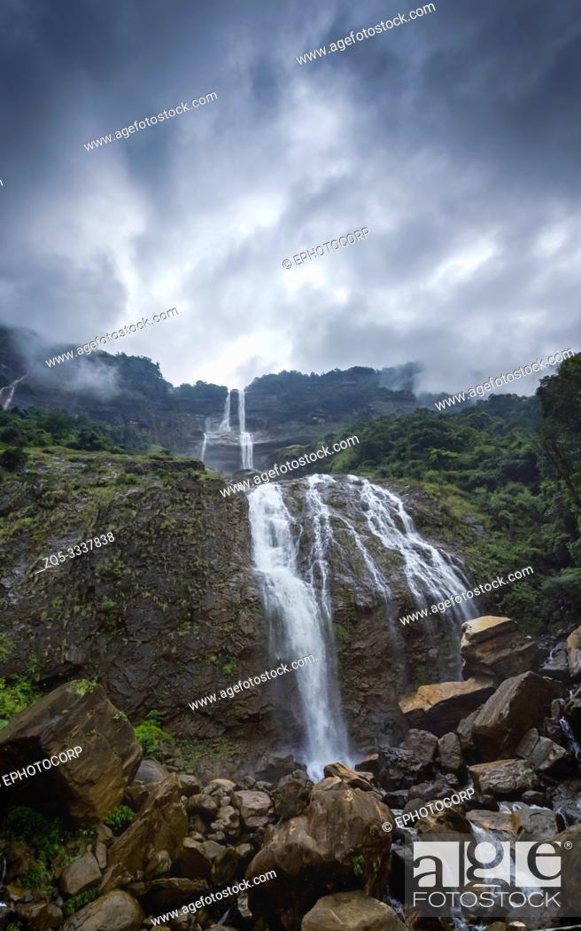 Stock Photo: Kynrem falls, Meghalaya, India.