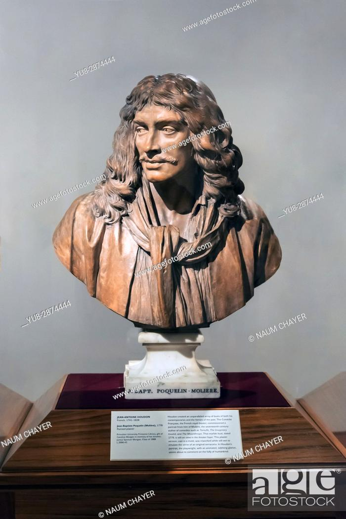Stock Photo: . Bust of Jean-Baptiste Poquelin, known by his stage name Molière, The Princeton University Art Museum, Princeton, New Jersey, USA.