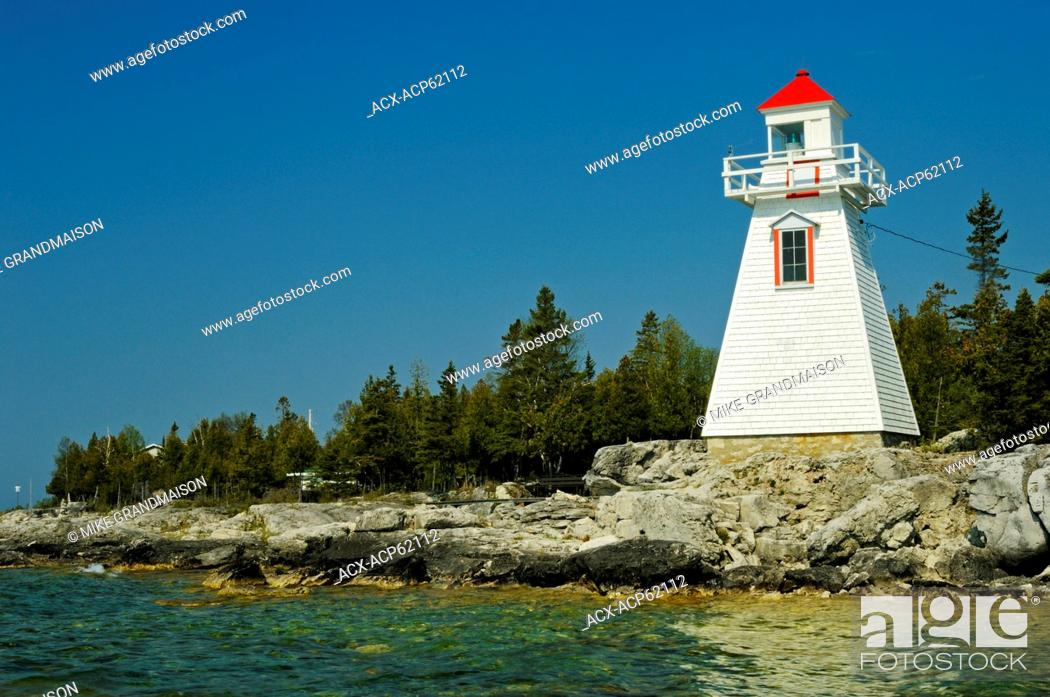 Stock Photo: lighthouse on Georgian Bay , South Baymouth, Manitoulin Island, Ontario, Canada.