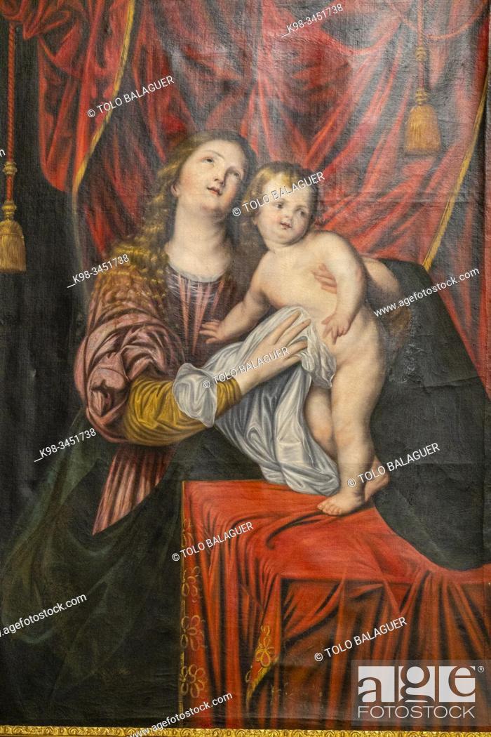 Stock Photo: virgen con el niño, sala rectoral, Real Colegio de Doncellas Nobles, Toledo, Castilla-La Mancha, Spain.