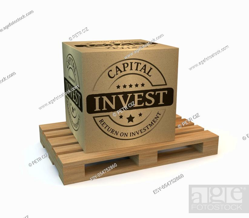 Stock Photo: Wooden pallet with a package invest.