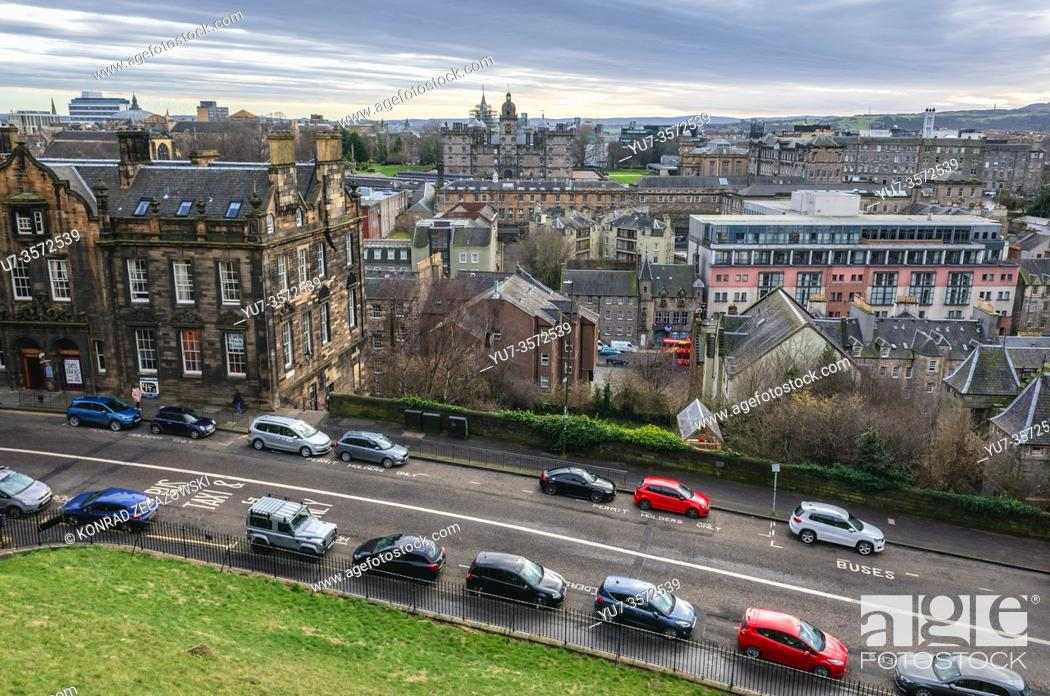 Stock Photo: Johnston Terrace street seen from esplanade of Castle in Edinburgh, the capital of Scotland, part of United Kingdom, George Heriots School on background.