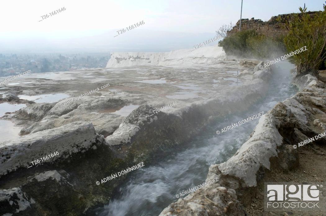 Stock Photo: Hot water in Pamukale, Turkey.