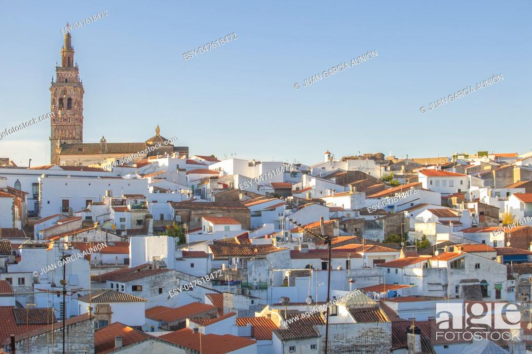 Stock Photo: Jerez de los Caballeros townscape from Templar Fortress viewpoint. Church of San Bartolome tower at bottom.
