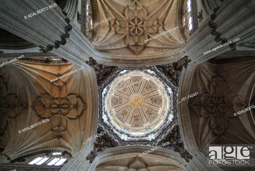 Stock Photo: dome columns and arch ribs in the new cathedral of Salamanca.