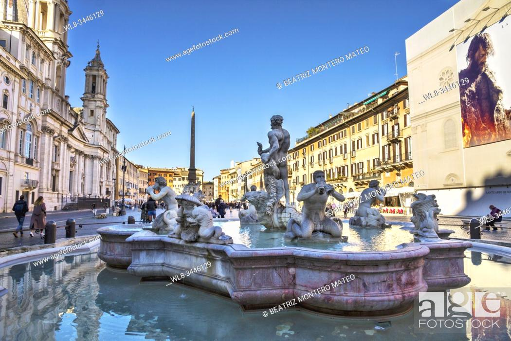 Stock Photo: Fountain of the 4 rivers in Navona square in Rome (Italy).