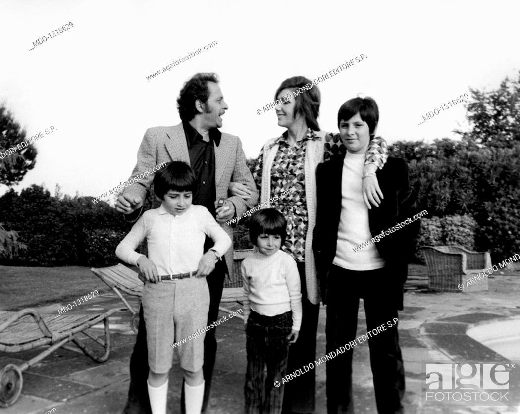 Domenico Modugno with his wife Franca Gandolfi and his sons Marcello ...
