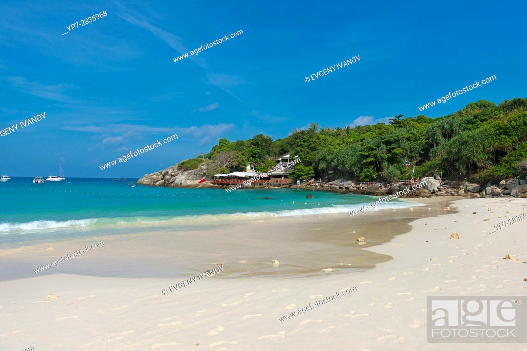 Stock Photo: Empty beautiful beach of Raya island in Andaman sea, Thailand.