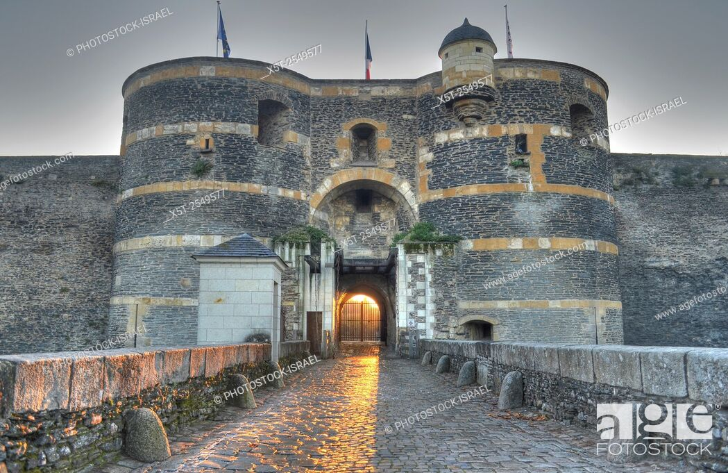 Stock Photo: The entrance gate to Château d'Angers is a castle in the city of Angers in the Loire Valley, in the département of Maine-et-Loire, in France.