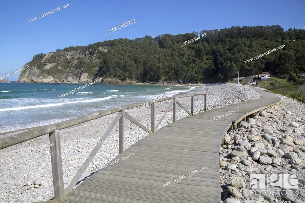 Stock Photo: Walkway at Concha de Artedo Beach; Asturias; Spain.