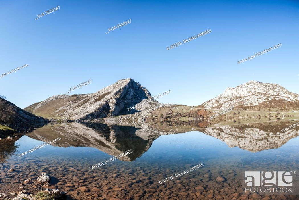 Stock Photo: The Lakes of Covadonga are composed of two glacial lakes located on the region of Asturias, Spain. These lakes, often also called Lakes of Enol or simply Los.