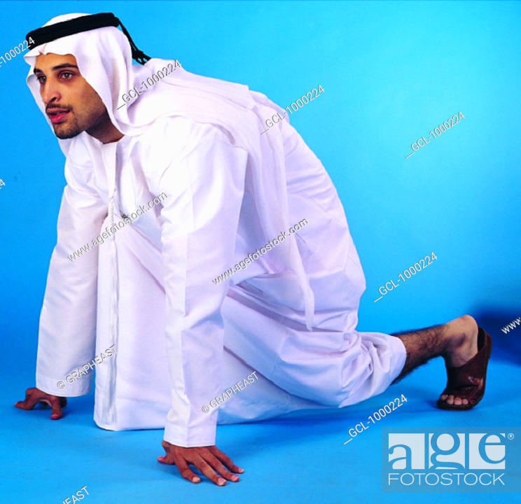 Stock Photo: Arab man in starting position.