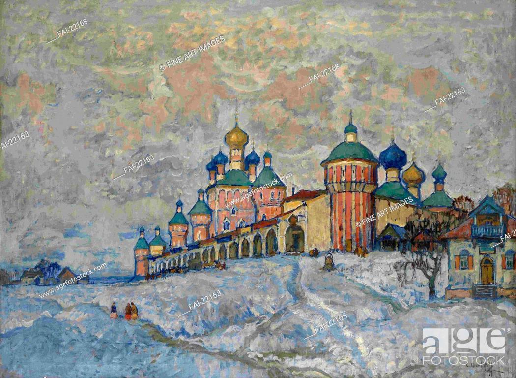 Stock Photo: View of a Monastery. Gorbatov, Konstantin Ivanovich (1876-1945). Oil on canvas. Realism. 1933. Russia. Private Collection. 80x109,5. Landscape.
