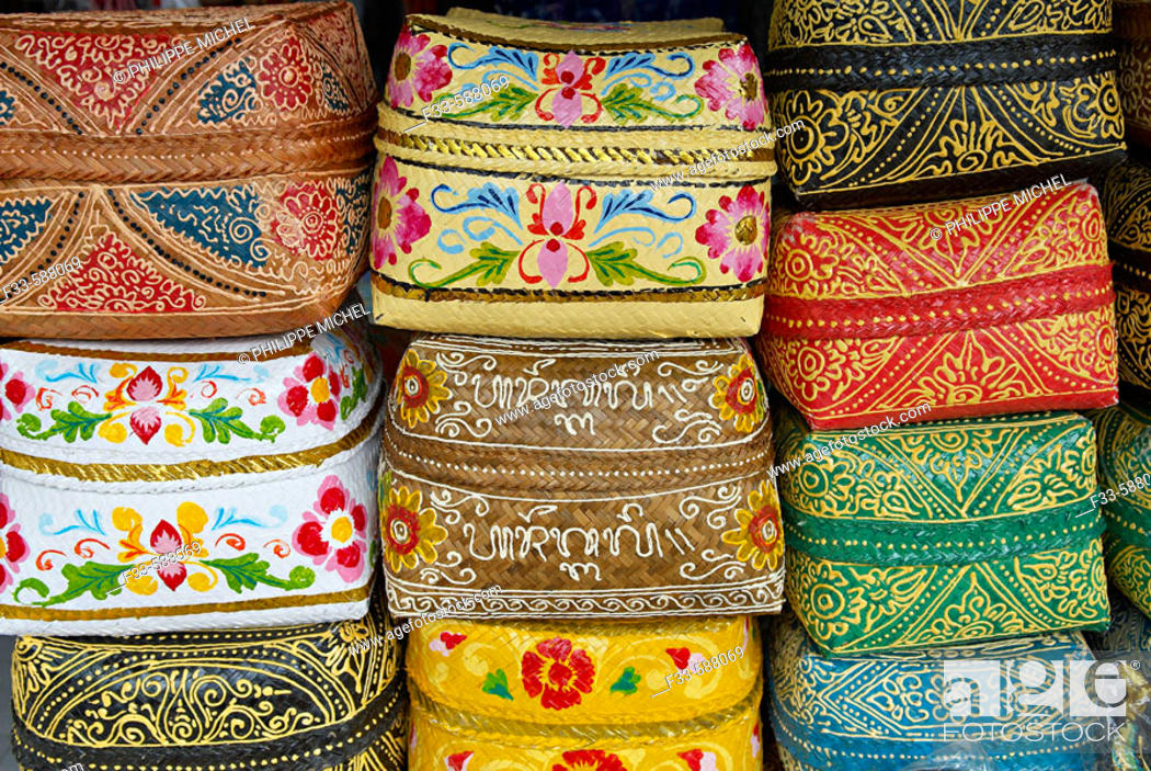 Indonesia Bali Handicraft At Ubud Offering Box Stock Photo