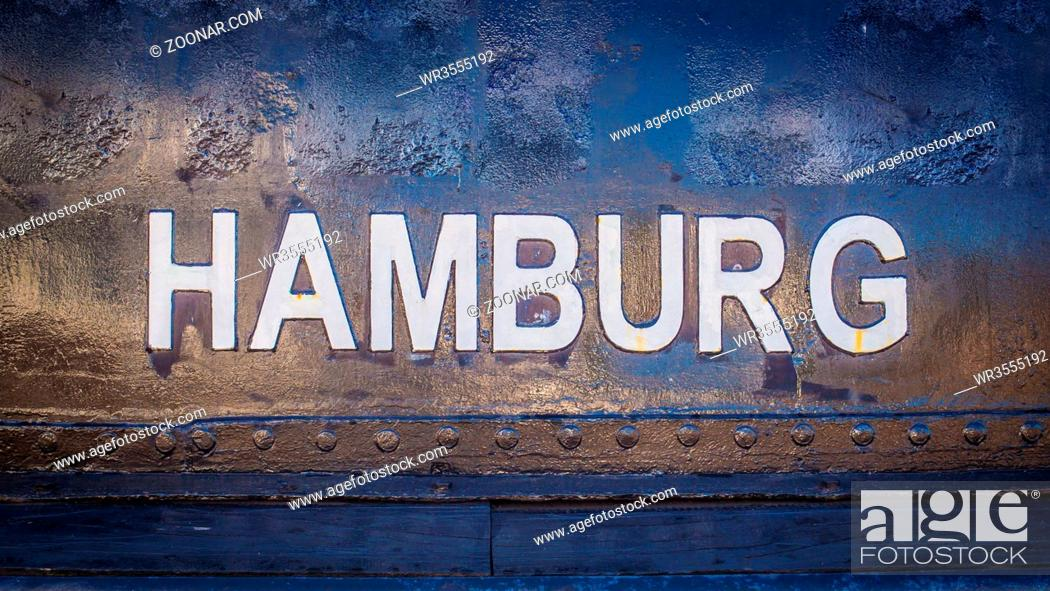 Stock Photo: Heritage, World Heritage Site, View, Travel, Fish, Dark, Night, River, Europe, City, Tourism, Old, Harbor, Germany, Market, Container, Shipping, Evening, Large, Yellow, Panorama, North, Overview, Ship, Michel, Create, Launch, Tugboat, German, Bollard