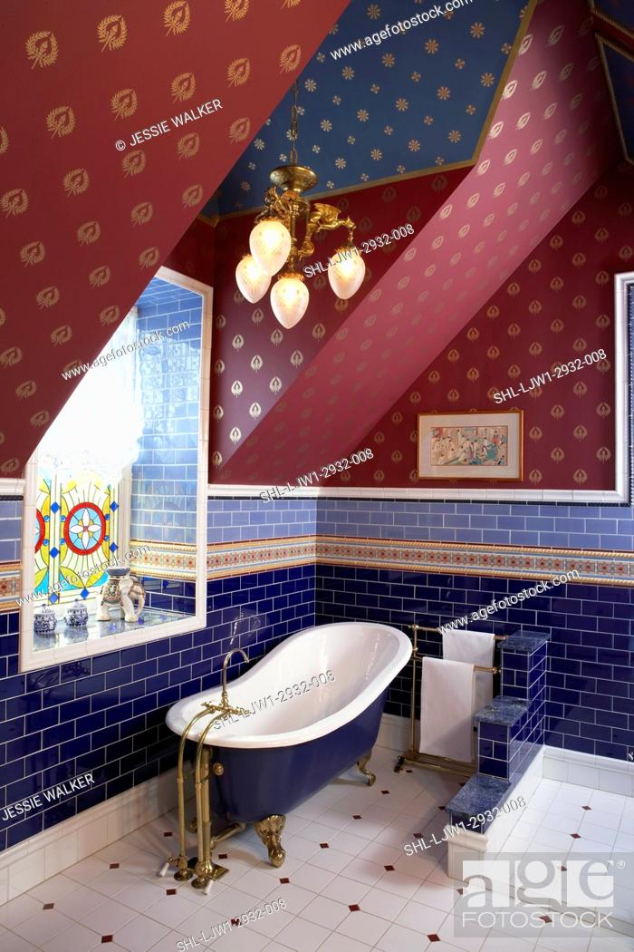 Stock Photo Bathrooms Tile Used As Dado Shades Of Indigo And Cornflower Blue Subway Painted Claw Foot Tub Antique Victorian Light Fixture