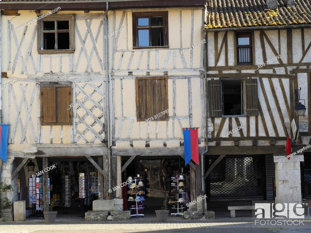 Stock Photo: half-timbered architecture, Place Gambetta, Eymet, Dordogne Department, Nouvelle-Aquitaine, FranceFrance.