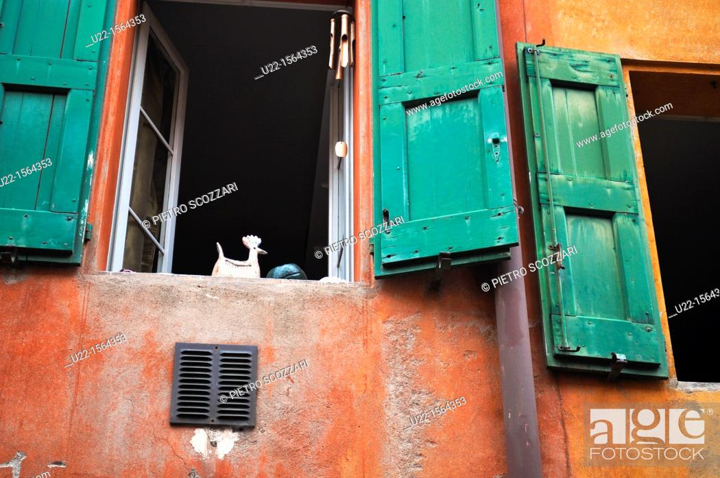 Stock Photo: Bologna (Italy): old windows along via Santa Caterina.