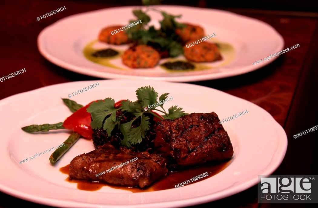 Stock Photo: Steak And Asparagus.