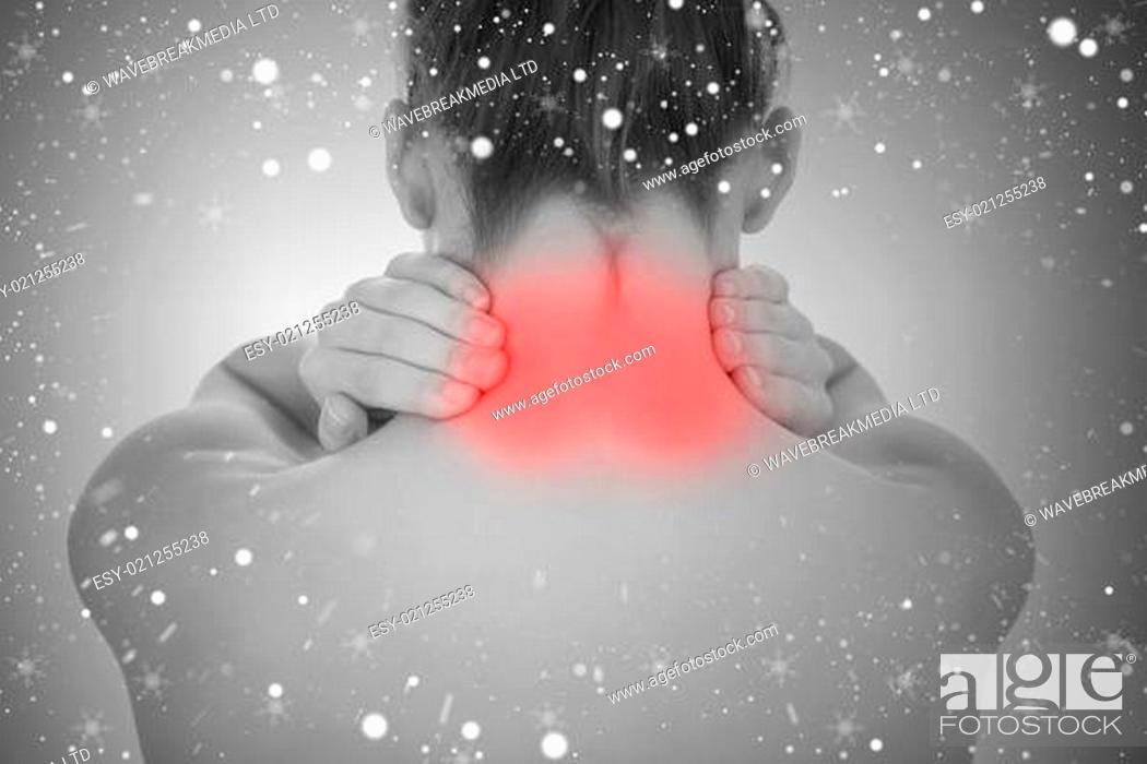 Stock Photo: Composite image of woman touching highlighted neck pain.