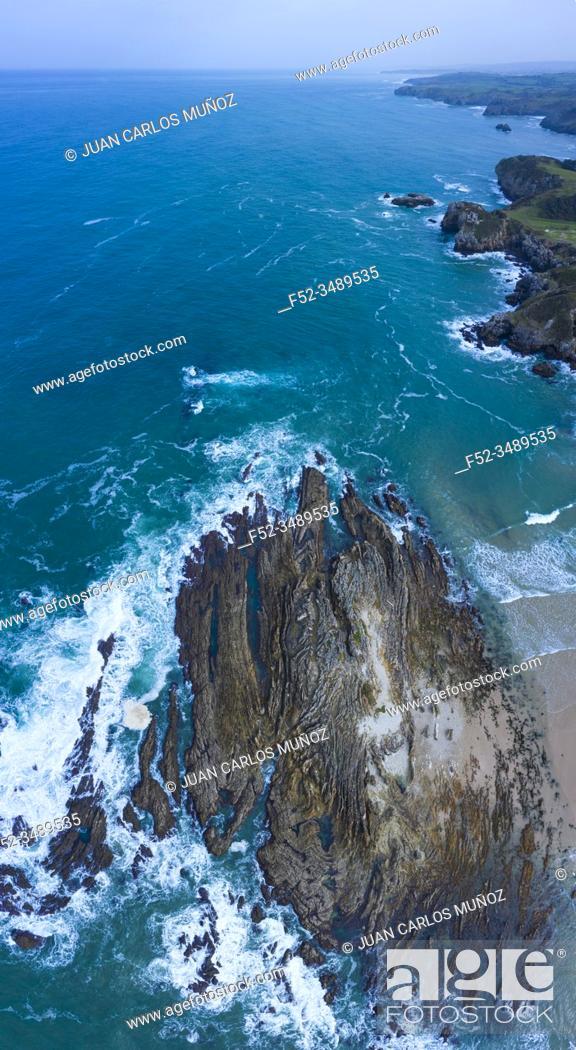 Stock Photo: Lastras de Pechon, Pechon, Val de San Vicente Municipality, Cantabrian Sea, Cantabria, Spain, Europe.