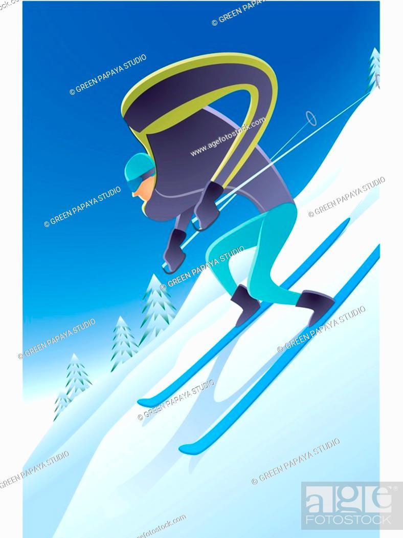 Stock Photo: Illustration of a skiier.