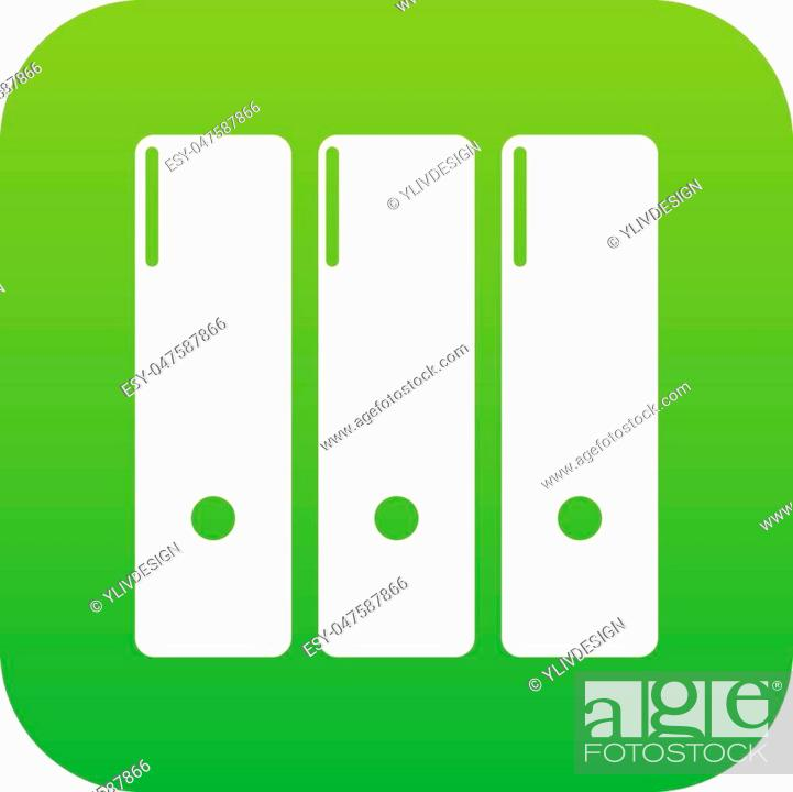 Stock Vector: Office folder icon green vector isolated on white background.
