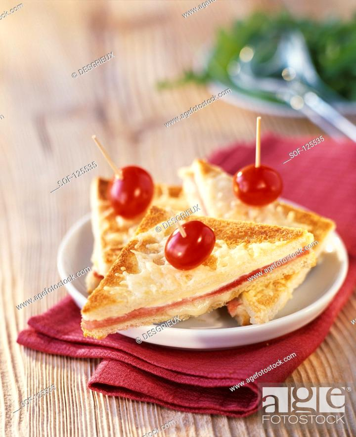 Stock Photo: Croque-monsieur toasted sandwich.
