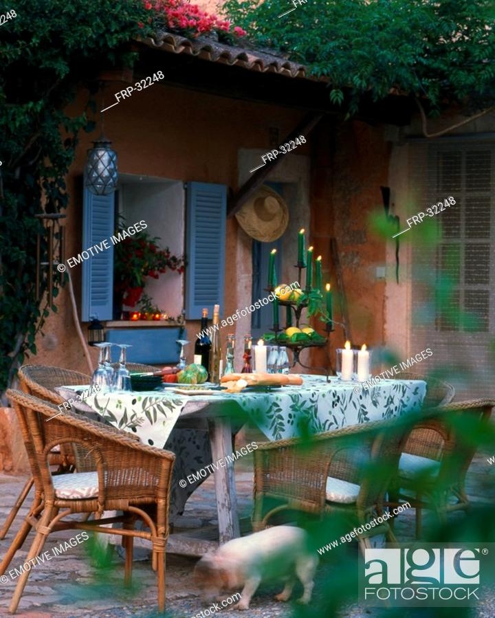Stock Photo: Twilight atmosphere - mediterranenan terrace.