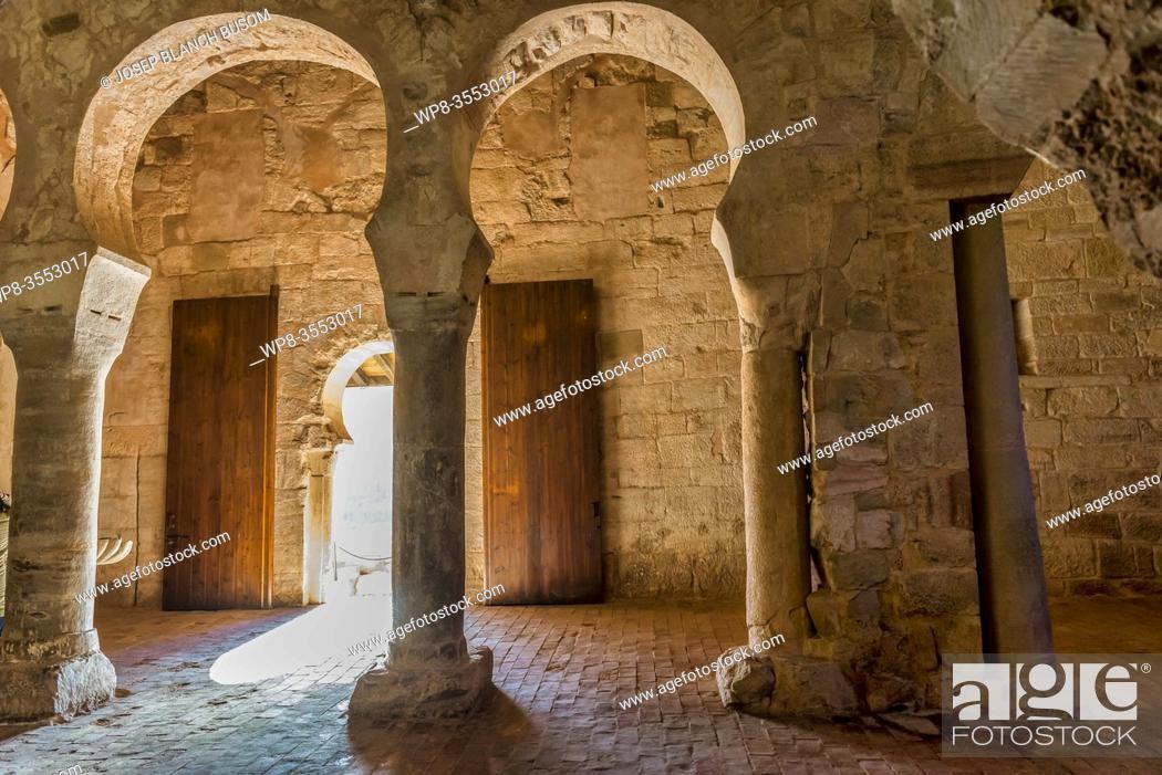 Stock Photo: San Millan de Suso Monastery, 6th century, San MIllan de la Cogolla municipality, La Rioja, Spain, Europe, Unesco World Heritage Site.