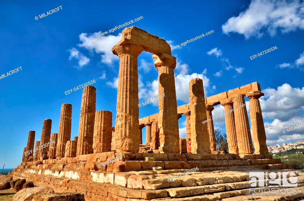 Stock Photo: Italian destination, Greek temple of June, in the archaeological site of Valley of Temples in Agrigento, Sicily.