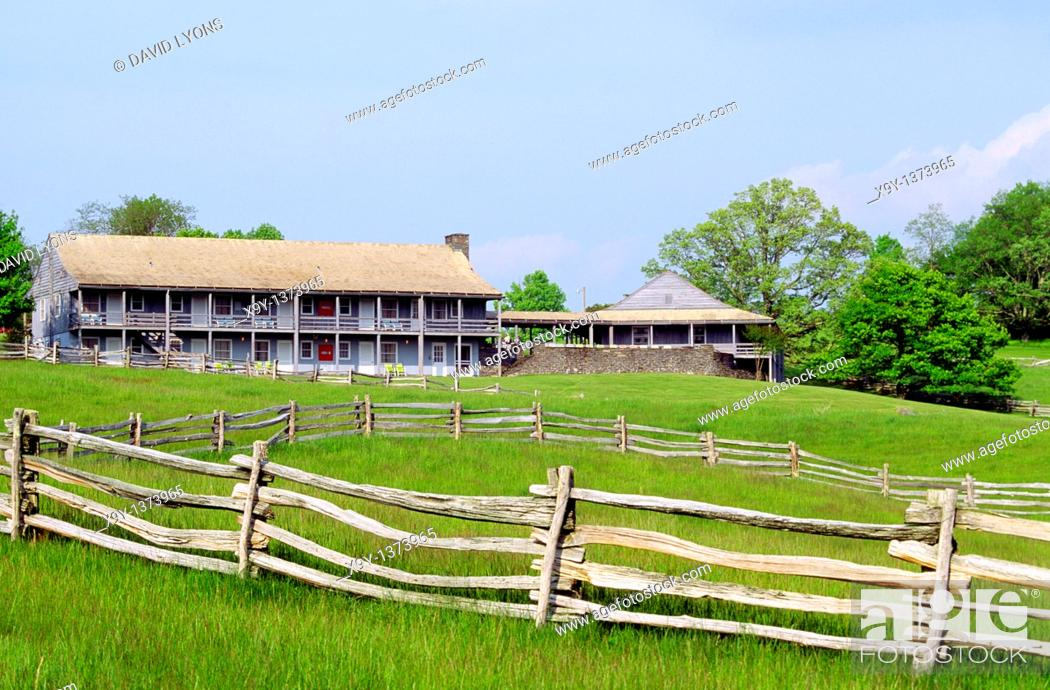 Stock Photo: Bluffs Lodge historic hotel and restaurant in Doughton Park on the Blue Ridge Parkway in North Carolina, USA.