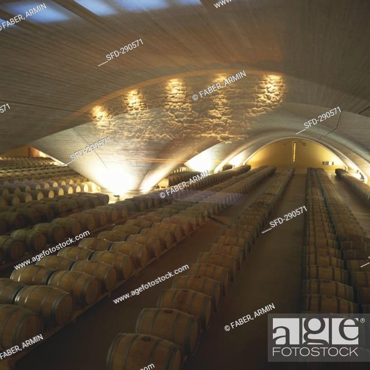 Stock Photo: Wine cellar of Bodega Otazu, Navarra, Spain.