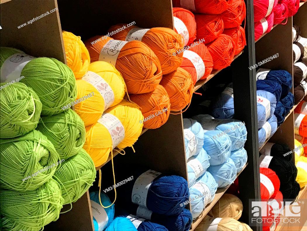 Stock Photo: Multicolor balls of yarn.