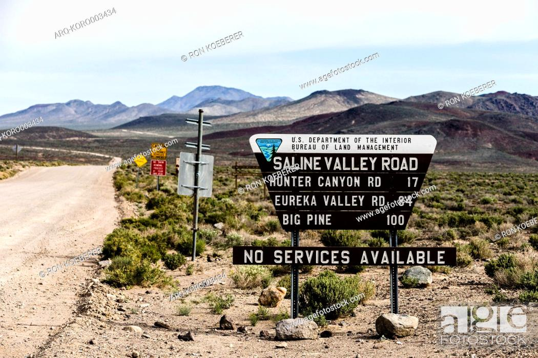 Stock Photo: Sign reading Saline Valley Road, Death Valley, California, USA.