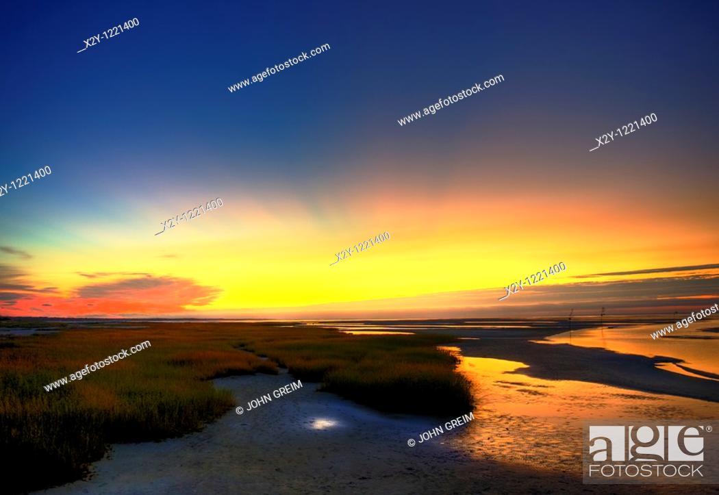 Stock Photo: Seascape sunset, Rock Harbor, Cape Cod, Ma.
