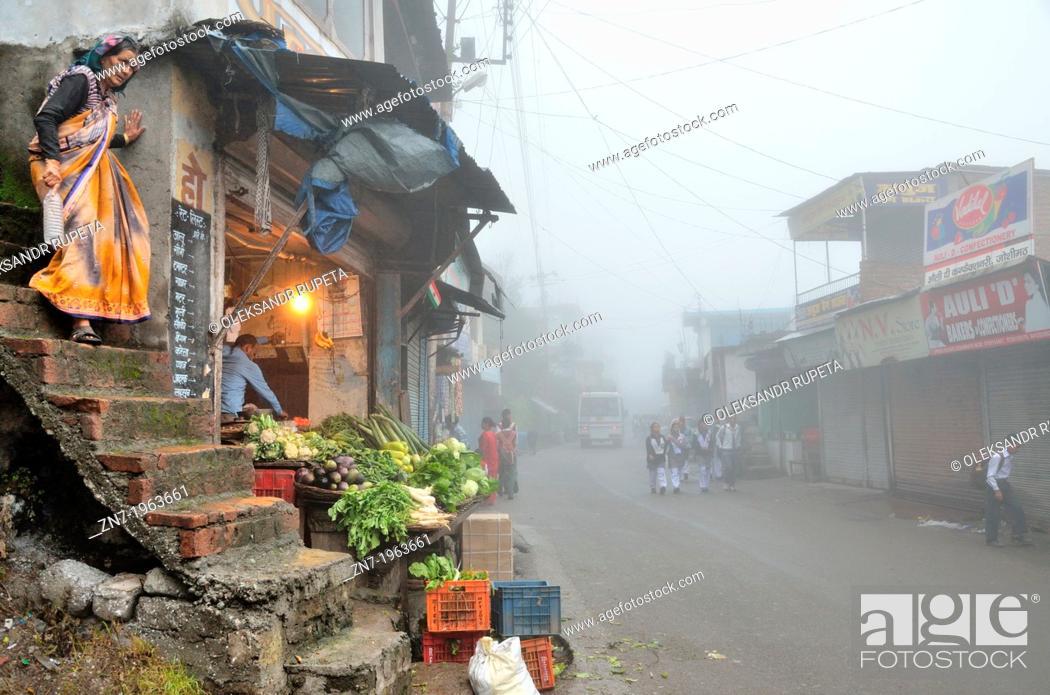 Stock Photo: A foggy morning in Joshimath, India.