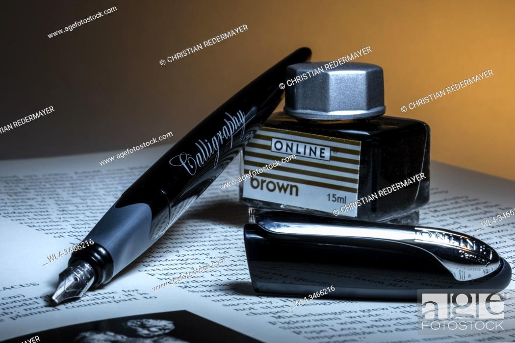 Stock Photo: Calligraphy pen on a open book and a can of ink.