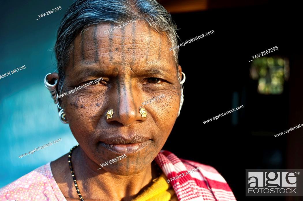 Stock Photo: Woman belonging to the Kutia Kondh tribe ( Kandhamal district, Odisha state, India). She is christian.