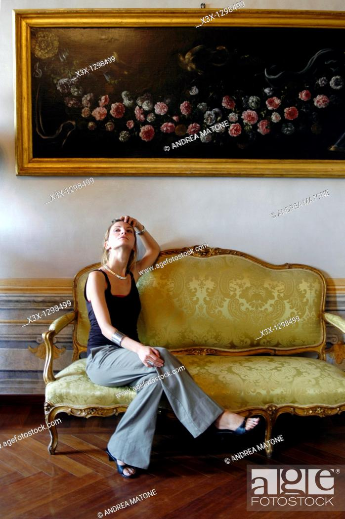 Stock Photo: Woman portrait in a luxurious house.