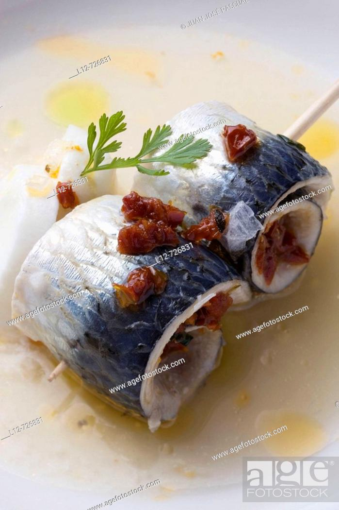 Stock Photo: Marinated sardines with Arzua cheese, tomato water and dried tomato at restaurant A Estacion by chefs  Xoan Crujeiras and Beatriz Sotelo, Cambre.